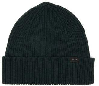 Paul Smith Logo Label Ribbed Cashmere Blend Beanie Hat - Mens - Green