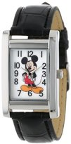 Disney Mickey Mouse Women's MCK835 Silver Rectangular Case Black Strap Watch