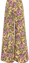 RED Valentino Floral-print Stretch-cotton Wide-leg Pants - Yellow