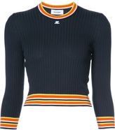 Courreges Striped Hem Long Sleeve Sweater - Navy