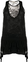 Saint Laurent sequinned lace mini dress