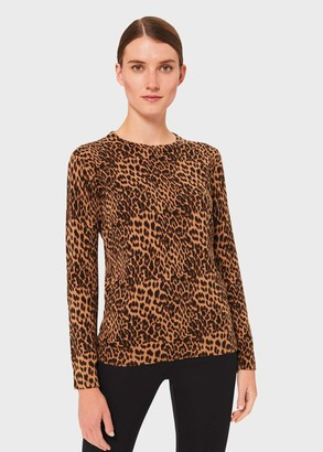 Hobbs Pamela Cotton Animal Print Sweater