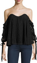 Caroline Constas Gabriella Off-The-Shoulder Lace Bustier Top