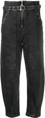Patrizia Pepe Eyelet-Detail High-Waist Trousers
