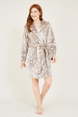 Yumi Brown Reindeer Fleece Robe