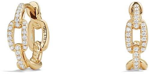 David Yurman Stax Chain Link Huggie Hoop Earrings with Diamonds in 18K Gold