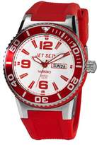 Jet Set J 55454-168-Wb30-Unisex Watch Analogue Quartz Dial White Rubber Strap Red