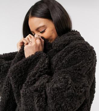 Asos Tall ASOS DESIGN Tall faux fur hero longline maxi coat in brown