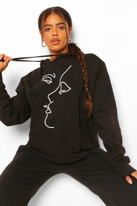boohoo Face Line Drawing Oversized Hoody