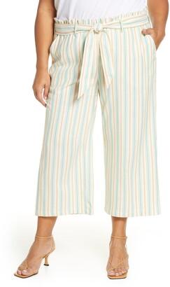 Single Thread Stripe Paperbag Waist Pants