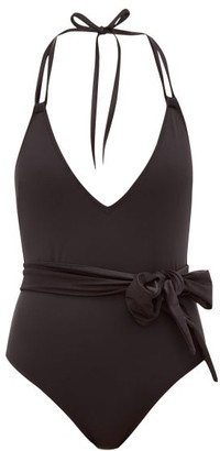 Solid & Striped The Lou Shimmer-sash Swimsuit - Black