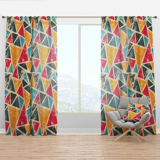 Design Art Designart 'Vintage Triangulare Geometry with Yellow, Blue and Black' Modern & Contemporary Curtain Panel