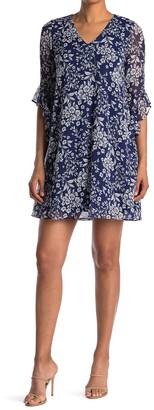 Calvin Klein Ruffle Sleeve A-Line Dress