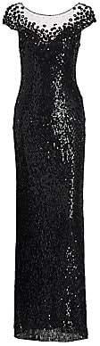 Jenny Packham Women's Suzette Sequin Cap-Sleeve Gown