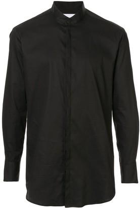 Strateas Carlucci Mandarin collar shadow striped shirt