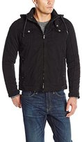 X-Ray Men's Slim Fit Washed Cotton Jacket with Padded Lining and Removable Hoodie