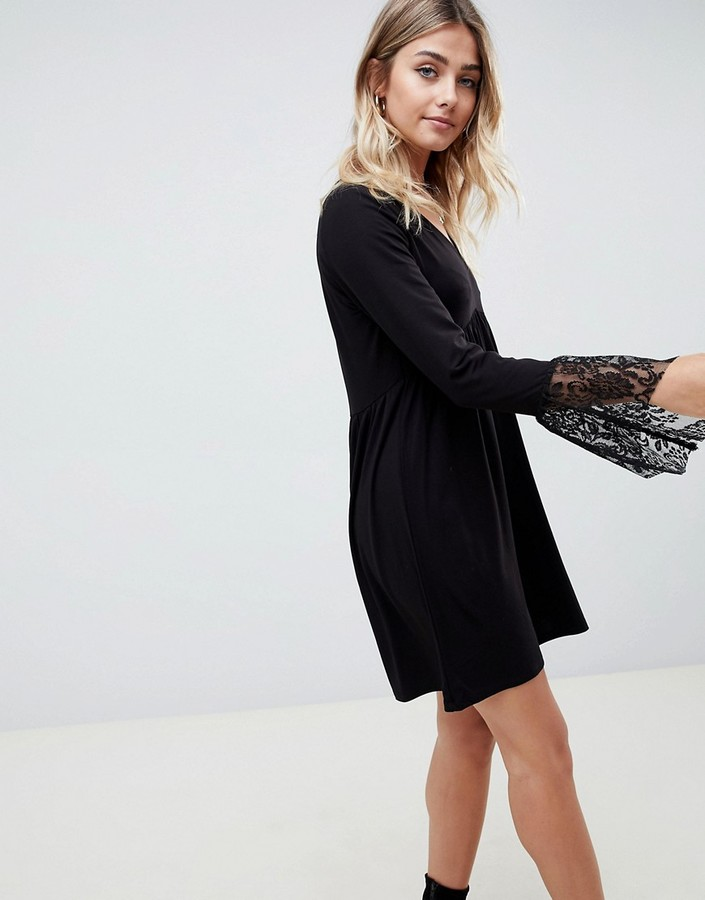 Asos DESIGN v neck swing dress with flared lace cuffs in black