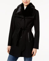 Laundry by Design Faux-Fur-Collar Belted Coat