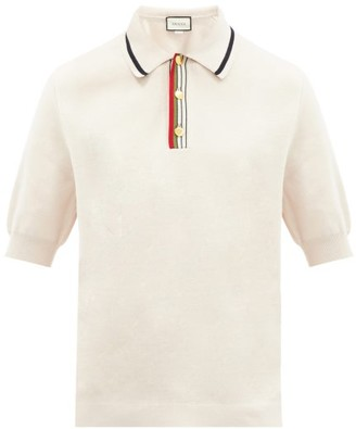 Gucci Web-striped Placket Knitted-cotton Polo Shirt - White