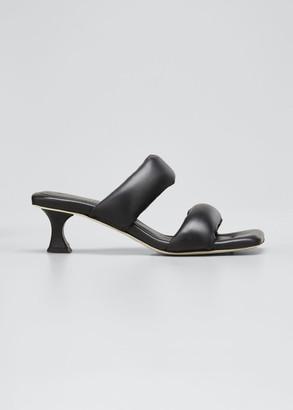 Proenza Schouler Cecil Puffy Kitten-Heel Slide Sandals, Black
