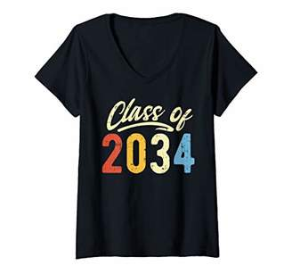 with me. Womens Class Of 2034 Retro Grow Kindergarten Day Kids Gift V-Neck T-Shirt
