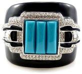 Kenneth Jay Lane Art Deco Crystal & Enamel Cuff Bangle Turquoise Blue