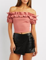 Charlotte Russe Ruffle Off-The-Shoulder Crop Top