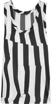 Ann Demeulemeester Striped Stretch-silk Satin Top - White