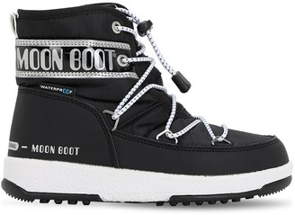 Moon Boot Ankle Snow Boots W/ Faux Leather Detail