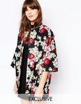 Helene Berman Kimono Coat Printed Embroidery Floral