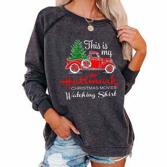 LICHENGTAI Women Christmas Sweatshirt This is My Hallmark Christmas Movies Watching Shirt Long Sleeve Oversized Casual Loose Pullover