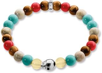 Thomas Sabo Rebel at Heart Women's Bracelet Skull Bracelet Gold 925Silver Turquoise Blue Tiger Eye Jasper 17cmA15148837 L17