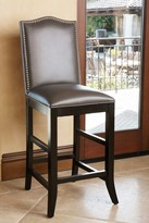 Grey Royal Leather Nailhead trim Barstool