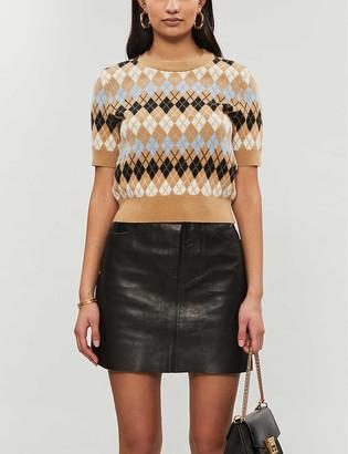 Maje Mina argyle-pattern wool-blend jumper