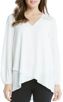 Karen Kane Lace Shoulder Faux Wrap Blouse