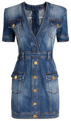 Balmain V-Neck Denim Mini Dress
