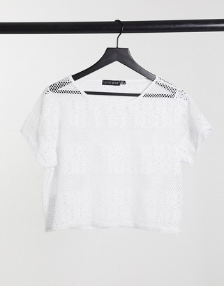 In The Style crochet top in white