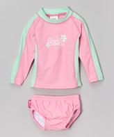 BaBy BanZ Pink & Mint Rash Guard Set - Infant