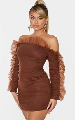PrettyLittleThing Chocolate Brown Chiffon Frill Shoulder Bodycon Dress