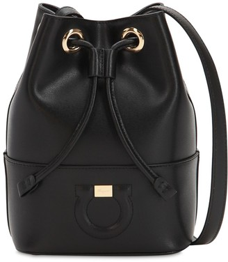 Salvatore Ferragamo SMALL LEATHER BUCKET SHOULDER BAG
