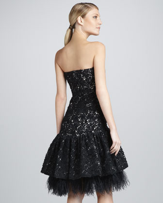 Badgley Mischka Strapless Lace-Feather Cocktail Dress