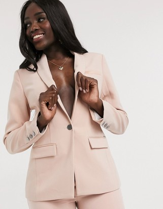 Morgan satin trim blazer in dusty pink