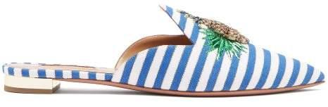 Aquazzura Pineapple Crystal Embellished Striped Mules - Womens - Blue White