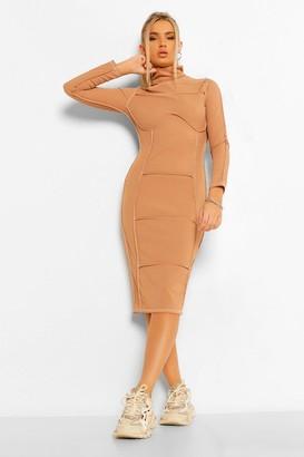 boohoo Contrast Stitch High Neck Midi Dress