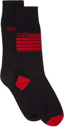 HUGO BOSS Two-Pack Black and Red 1993 Logo Socks