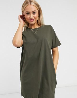 Miss Selfridge organic t-shirt dress in olive