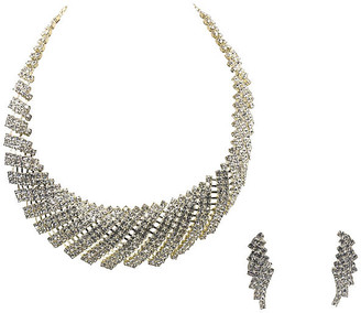 One Kings Lane Vintage Rhinestone Cocktail Necklace & Earrings - Owl's Roost Antiques
