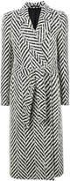 Tagliatore striped knit belted coat