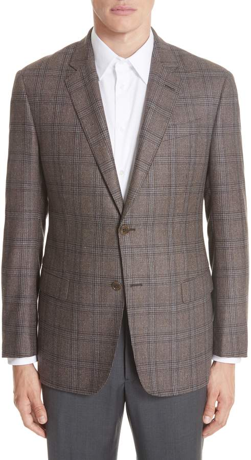 Emporio Armani G Line Trim Fit Plaid Silk & Wool Sport Coat