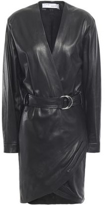 IRO Opening Wrap-effect Belted Stretch-leather Mini Dress